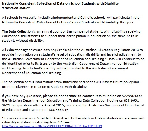 Nationall Consistent Collection of Data on School Students with Disability